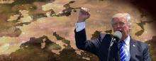Donald Trump raising fist in front of map of Europe